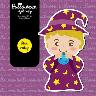 Halloween party invitation with little wizard and magic ball
