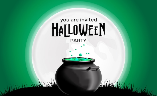 Halloween party invitation with potion in the pot