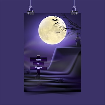 Halloween party invitation with spooky fog concept under moon light