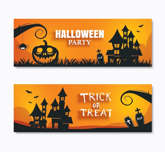Halloween party invitations banner and greeting cards