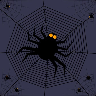Halloween party invitations or greeting card with spider webs and spiders. vector illustration. place for text