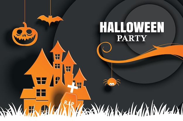 Halloween party invitations and greeting cards