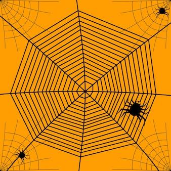 거미줄과 거미가 있는 할로윈 파티 초대장 또는 인사말 카드. 벡터 일러스트 레이 션. 텍스트를 위한 장소
