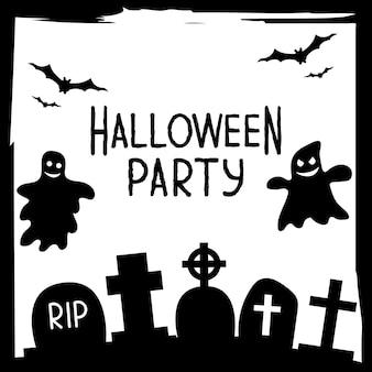 伝統的なハロウィーンのシンボルとハロウィーンパーティーの招待状やグリーティングカードのバナー。シンプルなグランジフレームのテクスチャとテキストサンプルの場所とチラシ。黒と白のベクトルイラスト。