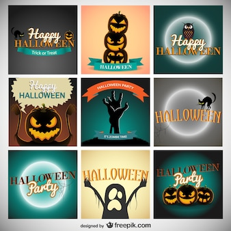 Halloween party invitations pack