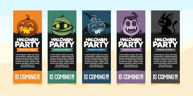 Halloween party invitations with illustration of halloween costume