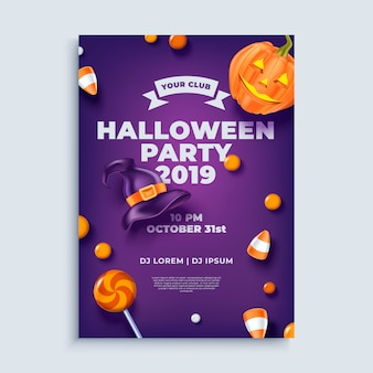 Halloween party layout poster or flyer template.