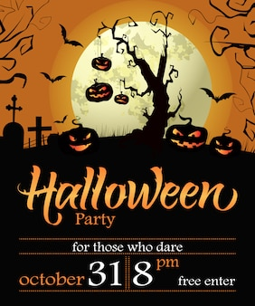 Halloween party lettering with date, tree, pumpkins and moon