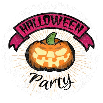 Halloween party logo with smiling pumpkin.