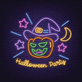Halloween party neon signboard