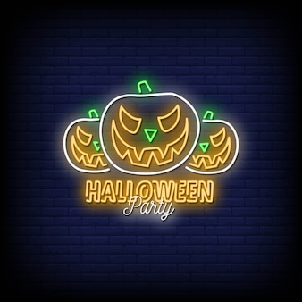 Halloween party neon signs style text