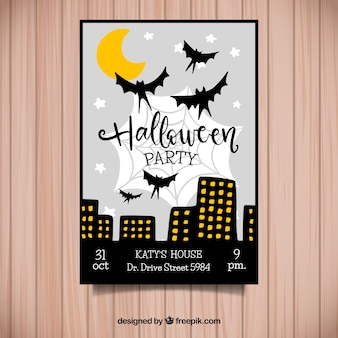 Halloween party in a night city poster