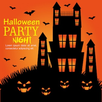 Halloween party night invitation design.