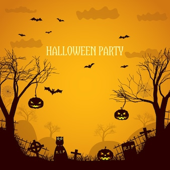 Halloween party orange illustration with silhouettes  of dead trees spooky pumpkin faces and gravestones flat