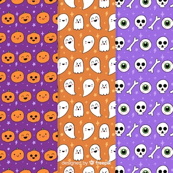 Halloween party pattern collection with pumpkins and skulls