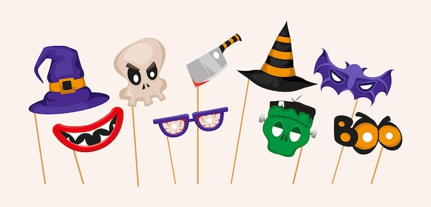 Halloween party photo booth props set with witch hat