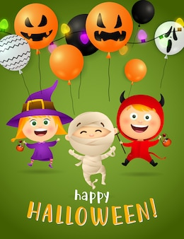 Halloween party postcard design with dancing mummy and witch
