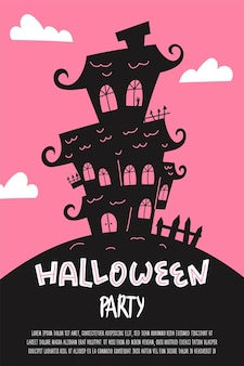 Halloween party poster banner or invitation flyer with spooky haunted house