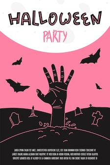 Halloween party poster banner or invitation flyer with zombie hand rising from the cemetery ground