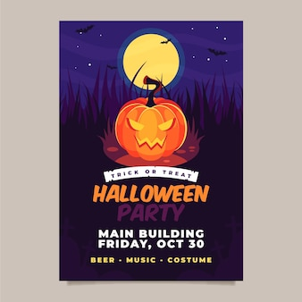 Manifesto del partito di halloween in design piatto