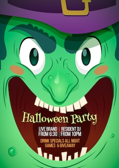 Halloween party poster flat design