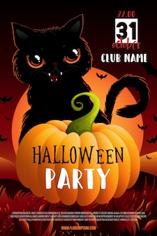 Halloween party poster or flyer with black cat.