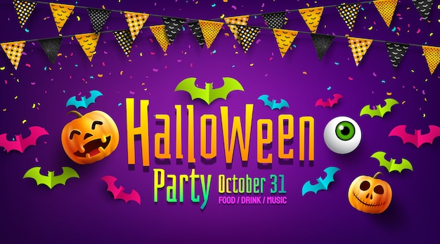 Halloween party poster or flyer with flags garlands, paper bats and confetti.