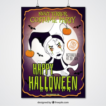 Halloween party poster of harlequin