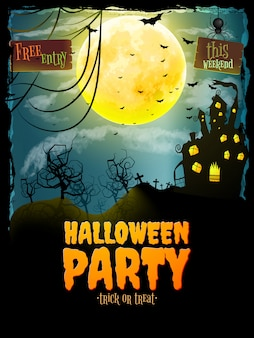 Halloween party poster. hunted house on spooky graveyard.