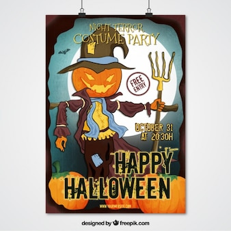 Halloween party poster of scarecrow