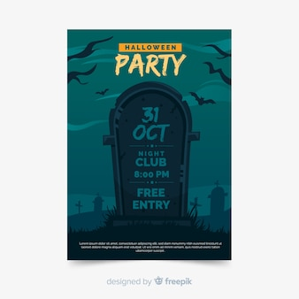 Halloween party poster template flat design