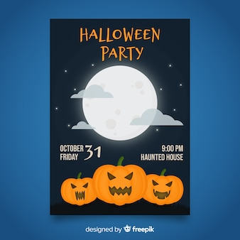 Halloween party poster template on flat design