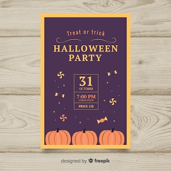 Halloween party poster template in flat desing