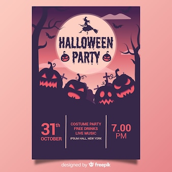 Halloween party poster template hand drawn design