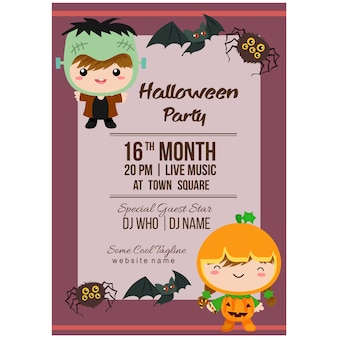 Halloween party poster template with costume kids frankenstein