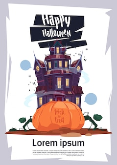 Halloween party poster template with gothic castle and pumpkin