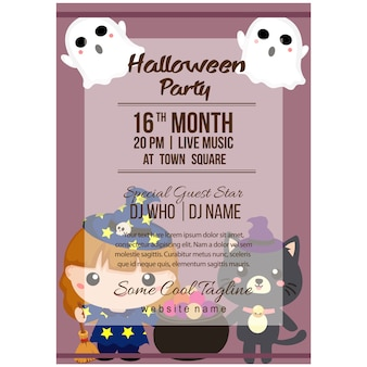 Halloween party poster template with lovable character