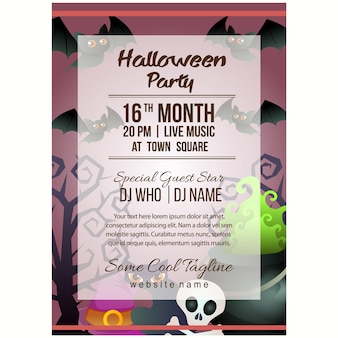 Halloween party poster template with magic pot