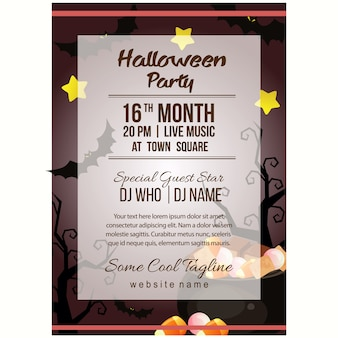 Halloween party poster template with pot of candy