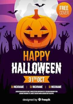 Halloween party poster template with pumpkin and zombie hands