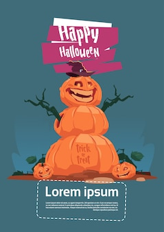 Halloween party poster template with scarecrow, jack lantern