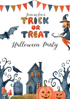 Halloween party poster template with watercolor illustrations isolated on white background