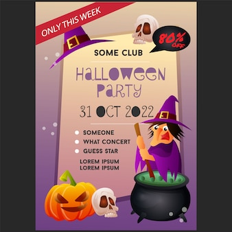 Halloween party poster template with witch
