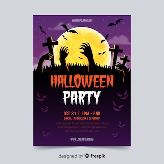 Halloween party poster template with zombie hands