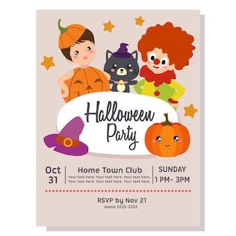 Halloween party poster theme with clown
