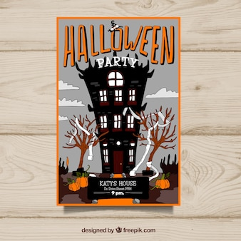 Halloween party poster with an abandoned castle