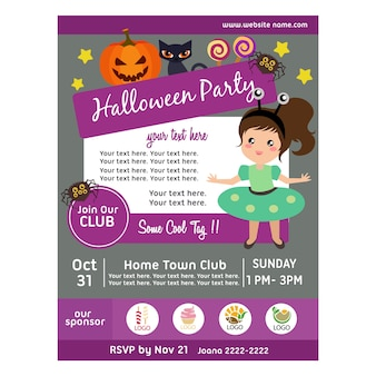 Halloween party poster with alien costume kid