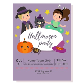 Halloween party poster with alien costume