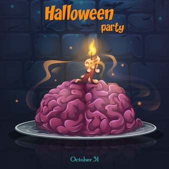 Halloween party poster with brain on the plate