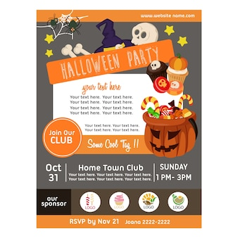 Halloween party poster with candy treats